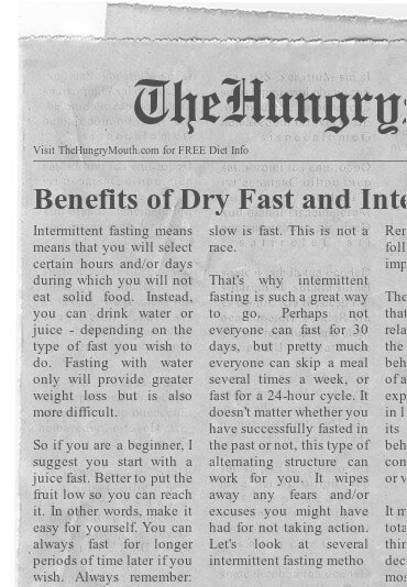 newspaper - Benefits of Dry Fast and Intermittent Fasting