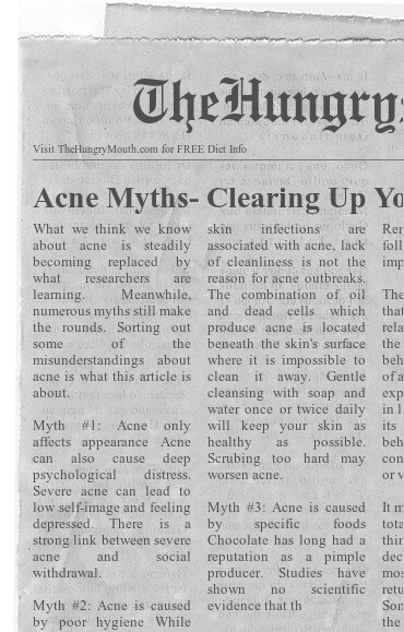 newspaper- Acne Myths- Clearing Up Your Skin, and Misconceptions
