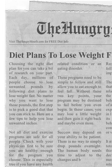 newspaper Diet Plans To Lose Weight Fast