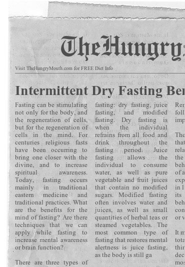 newspaper- Intermittent Dry Fasting Benefits