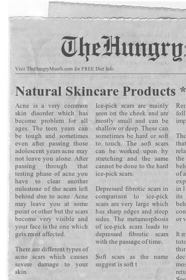 newspaper- Natural Skincare Products Acne Zits