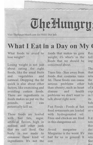 newspaper- What I Eat In A Day On My Current Weight Loss Program