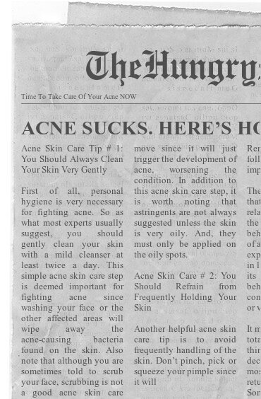 newspaper- time to get rid of your acne now
